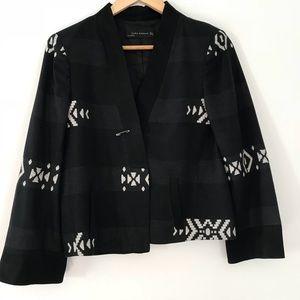 Zara Black Embroidered Blazer Size Medium NWOT